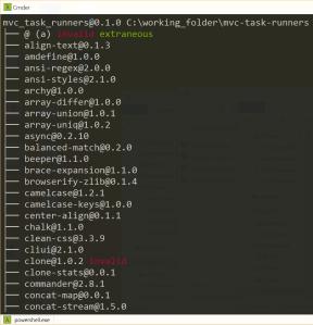flatten-packages npm list output