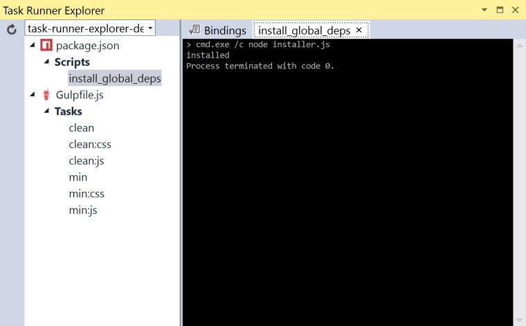 Task Runner Explorer manual script run