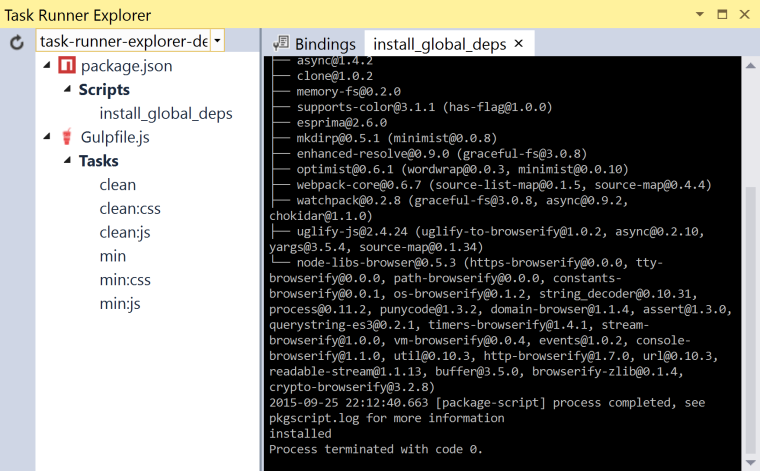 Task Runner Explorer Script Output