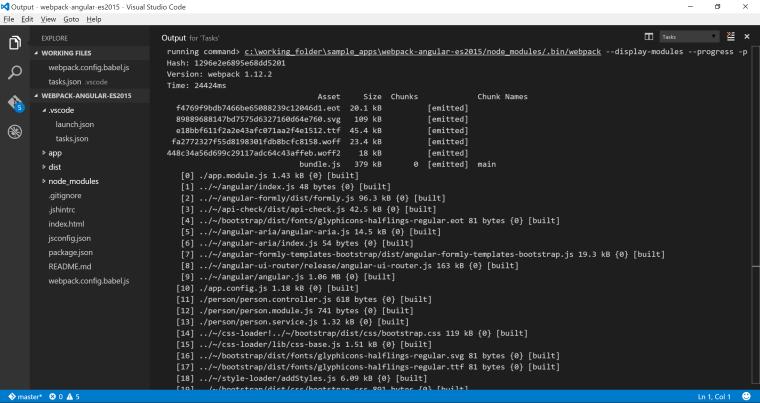 webpack dist task output