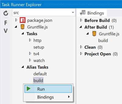 Task Runner Explorer Grunt task